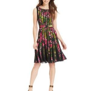 Adrianna Papell Chiffon Pleated Floral Dress 6